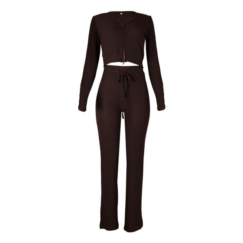 New Fashion High Quality Women 2 Pz Abbigliamento lavorato a maglia Set Set Us Neck Manica Lunga Cerniera Crop Piano Crop e cintura elastica Pantalone lungo