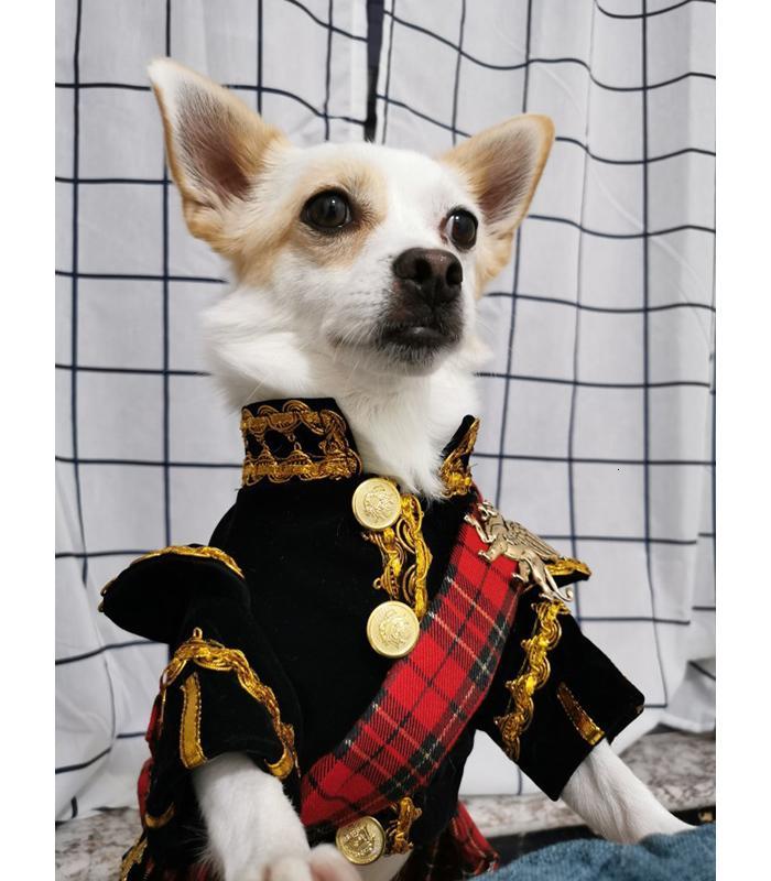 Frete Grátis Artesanal cão Roupas Scottish xadrez The Royal Style Veludo Uniforme Pet Smoking Suit Cats Poodle Maltês