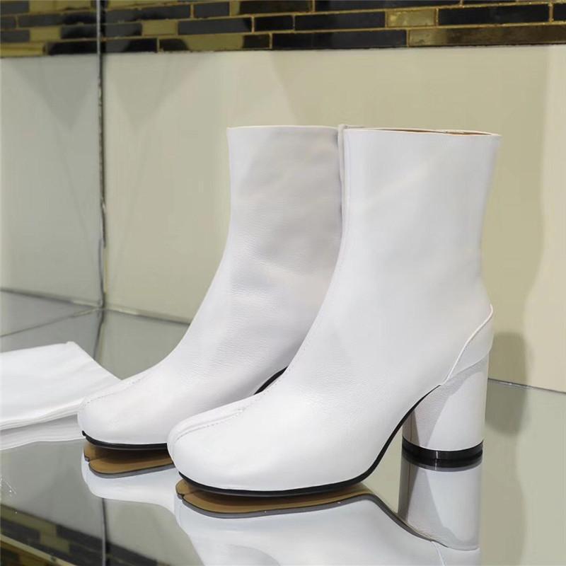 Сапоги женские лодыжки кожаные сплит носок круглые каблуки сваленные леди женщина высокая женская ниндзя