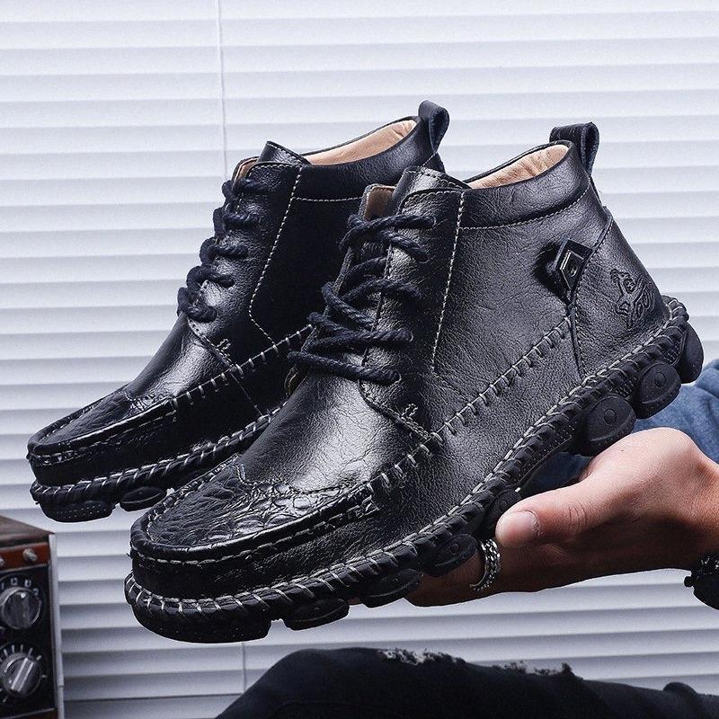 La venta caliente de los hombres zapatos calientes Botas Casual Otoño Invierno Nuevo de alta calidad de los hombres Botas Negro Marrón
