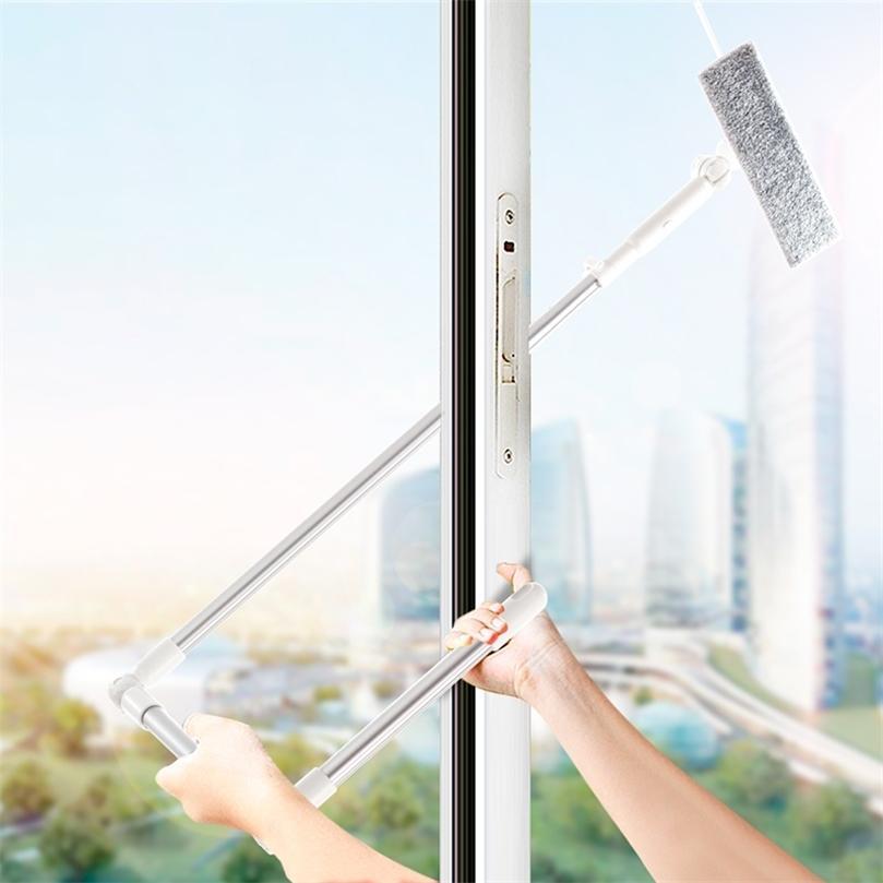 Ferramenta de escova de limpeza de vidro de limpeza da janela com 180 pano de microfibra de polo de pólo de cabeça de rodo de rodo para janelas interiores e exteriores 201214