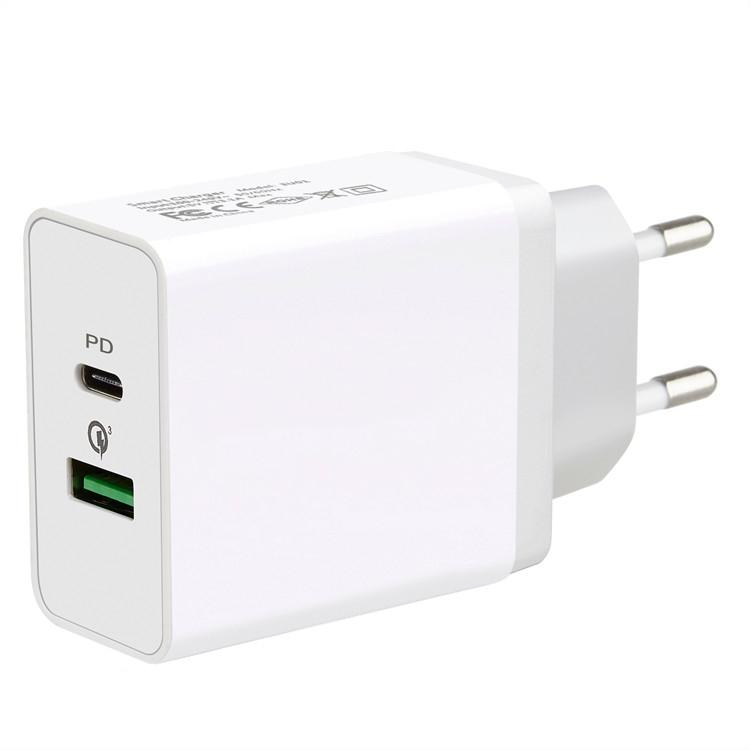 US EU plug ac dc QC3.0 5V3A Usb and PD 18W Wall Travel Fast Charger For Iphone Samsung Xiaomi Huawei