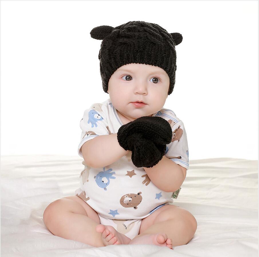 الطفل الأيكنتين قبعة قفازات مجموعة في فصل الشتاء الدافئة قبعة صغيرة الصلبة الدافئة لطيف الأذن الشكل الحياكة soild اللون قبضة قفازات لمدة 0-3 سنوات كيد LJJP736-2