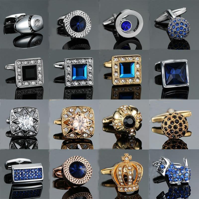 Novelty Luxury Blue White Cufflinks For Mens Brand High Quality Crown Crystal Gold Silver Cufflinks Shirt Cuff Links D19011003