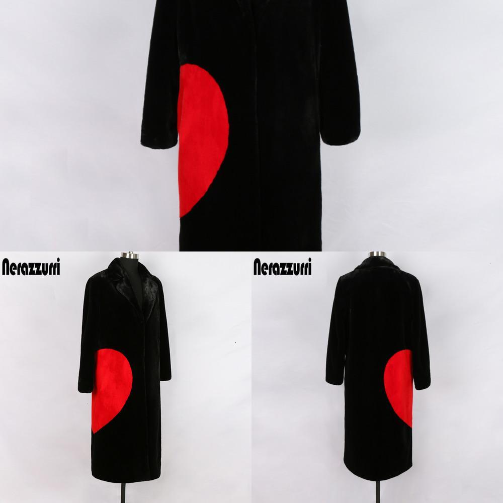 Black Nerazzurri Winter Faux Fur Coat with Red Love Hearts Long Sleeve Notched Lapel Plus Size Warm Fluffy Jacket 5xl 6xl 7R0M
