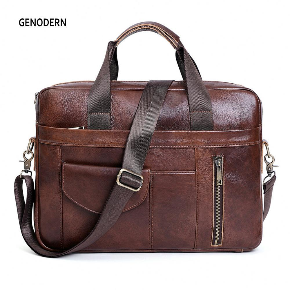 """HBP GENODERN Men's Briefcase Genuine Leather Business Handbag 15.6"""" Laptop Large Vintage Shoulder Bag Messenger Bags for Men Q0112"""