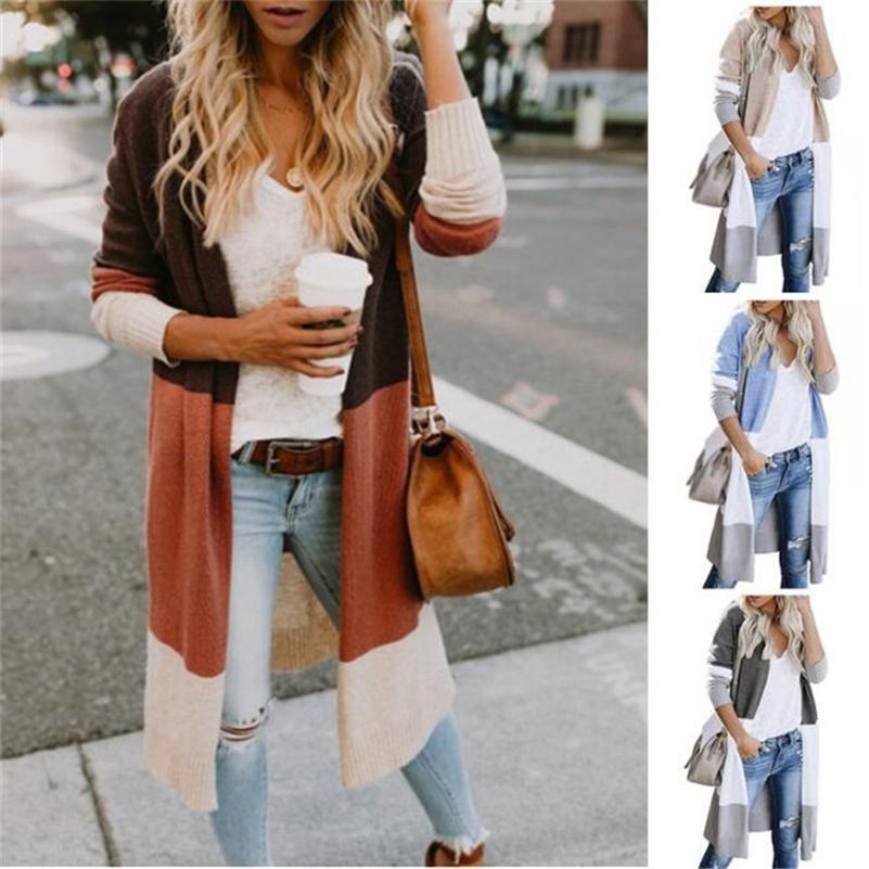 Printemps femmes pull rayé bloc de couleur drapé cardigan lâche manches longues manches décontractées manteau de pull tricot de couleur femme plus taille 2xl 201017