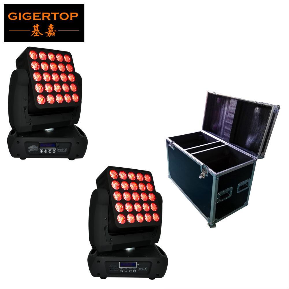 Başkanı Işık RGBW 4IN1 Lambası 12W LED Tek Kontrol Led Sahne İzleyici Işık Hareketli 2in1 Flightcase Paketi 25 Kafa Led Matrix