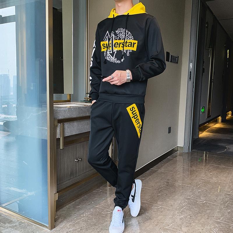 F8Vgh Две часть Uniform мужской осени долго студент унифицированный с капюшоном отдых спортивного костюма 2019 Новой молодежного тренда рукав студенческой одежды nn7NB