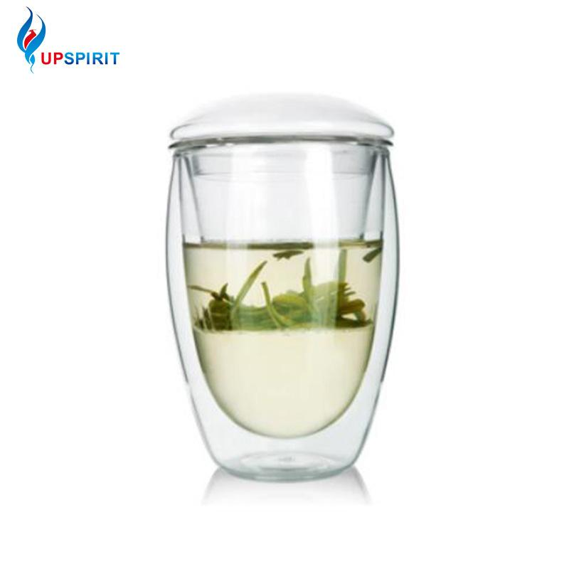 Uppirit 350ml dupla camada de parede 3a xícara de infusor e tampa resistente ao calor solto folha filtro de chá de café Bebida Y200107