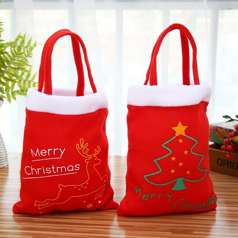 Flannel Gift Elk Tree Santa Claus Candy Coin Pouch Bag Handbag Totes Bags Christmas Decoration Props DBC BH4067