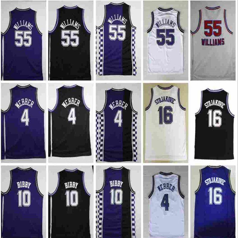 Yüksek Kalite Jason 55 Williams Basketbol Formaları # 4 Chirs Webber Formalar Peja 16 Stojakovic Ucuz Mike 10 Bibby Jersey Dikişli Mens S-XXXL