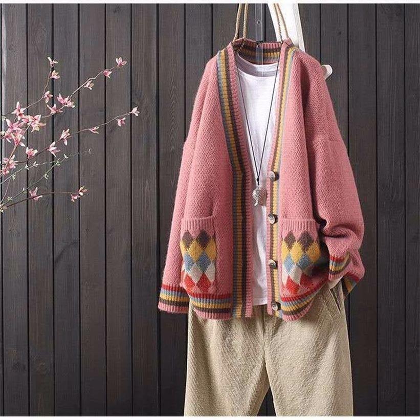 Свитер кардиган женская куртка свободный корейский стиль ленивый ветер снаружи вязаный свитер осень зима новые женщины 201223