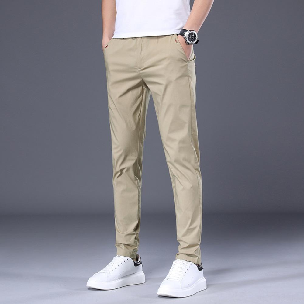 Мужских случайные весной и летом Корейский лед шелкового тонкие случайных мужских эластичные прямые брюки тонкие моды универсальные модных брюк мужчина trcJR т