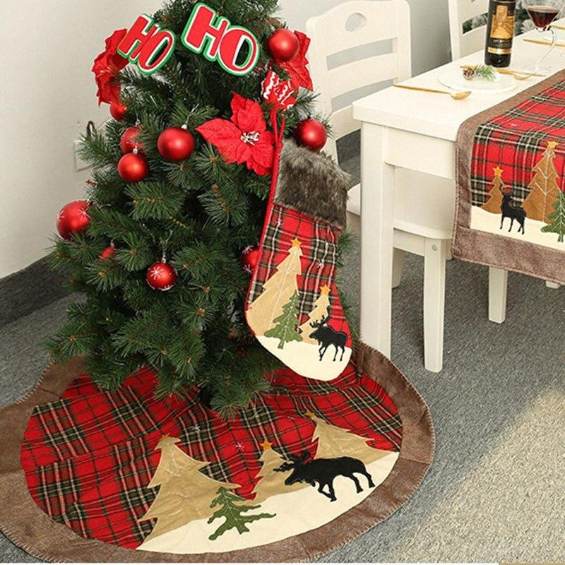 grid christmas tree skirt red plaid christmas tree decorations decorations for home reindeer mat New Year Decor Soyd#