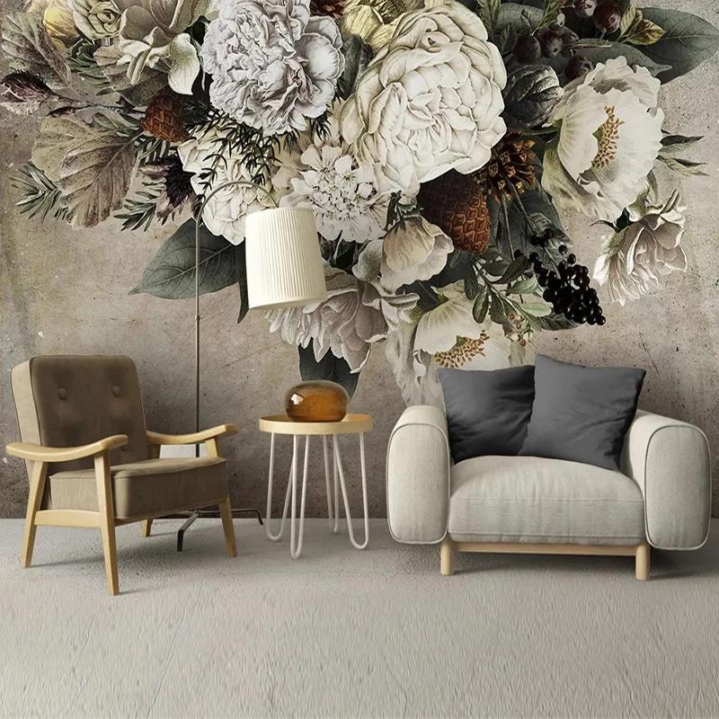 Personalizado Papel de Parede Estilo Europeu Retro Floral Flor Art Painting Painting Sala de estar Quarto Fundo Decoração de Casa Papel de parede