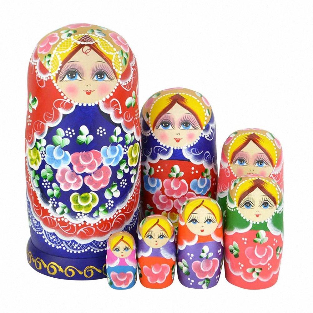 Bella serie di 7 Cutie Nesting Dolls Matryoshka Madness Russian Doll in legno che desiderano bambole giocattolo FJ88 4rUM #