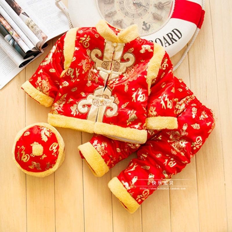 Happy Island Red الصينية الربيع مهرجان ملابس للطفل بنين ماندرين طوق السنة الجديدة القطن التطريز التقليدية تانغ الدعاوى Y200323