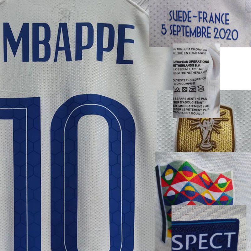 2020 Match Worn Playe Propósito Mbappe Giroud Camavinga Martial Pogba Giroud Griezmann com Detalhes Match Maillot American College Football