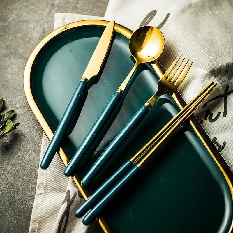 4 шт. / Набор из нержавеющей стали набор столовых приборов набор столовых посудов для бытовой керамической длинной ручкой нож вилка ложка стейки нож десерт палочка