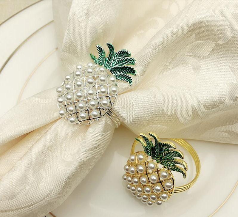 ananas or argent avec anneau de perles décoration de vacances de mariage famille porte-serviettes de dîner aux chandelles de SN1689