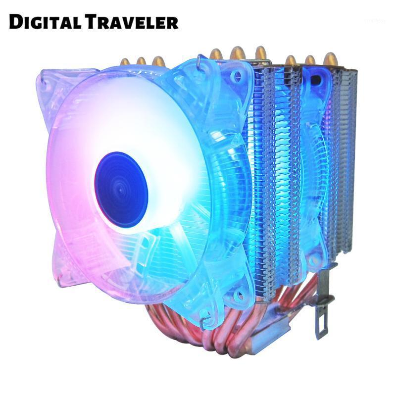 NEW TM6 CPU Cooler 6 Heat Pipes 4 Pin PWM Auto RGB Multiple Color Modes For Intel LGA 1150 1151 1155 2011 and AMD AM4 AM31