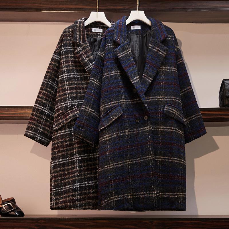 Mode Plaid épais épais de laine de laine Harajuku Femmes coréen automne hiver hiver manteau vintage blend veste