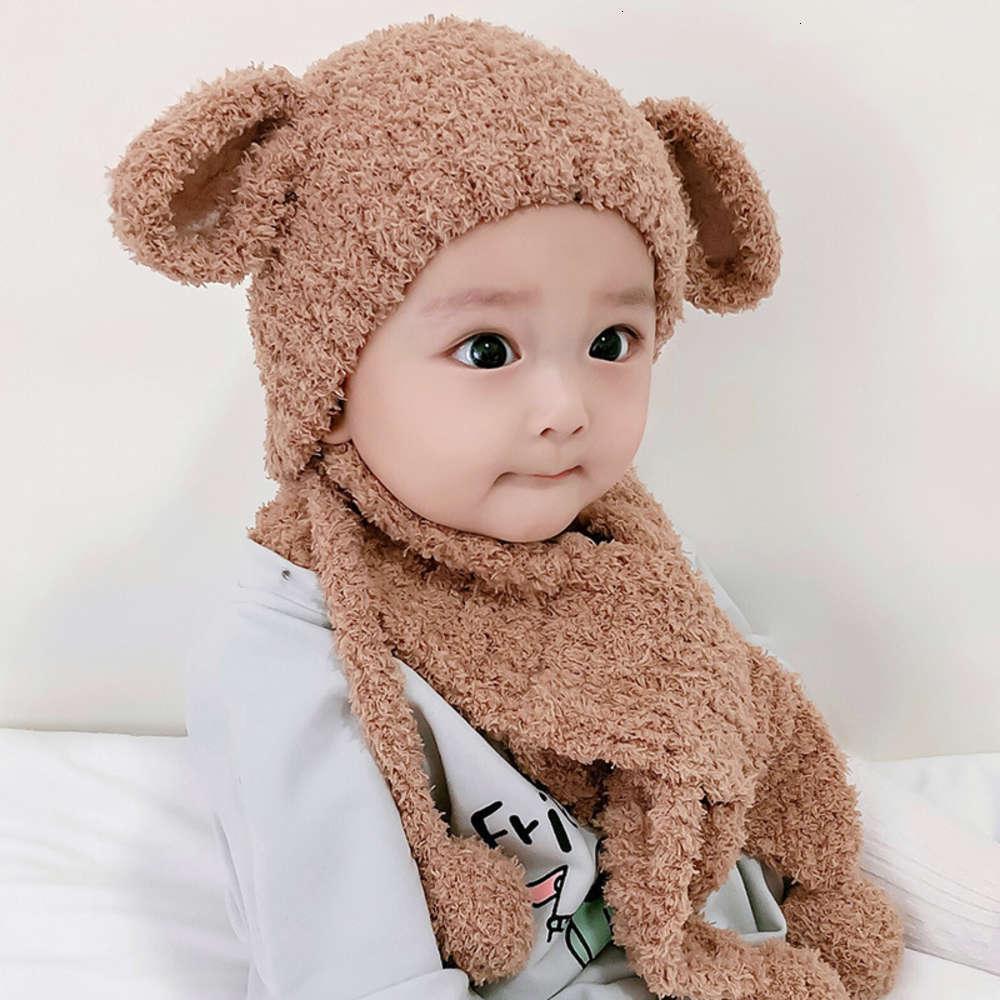 Корейский теплый детский шерсть 1-2 зимние годы мальчик девушка ушная шапка младенца шарф