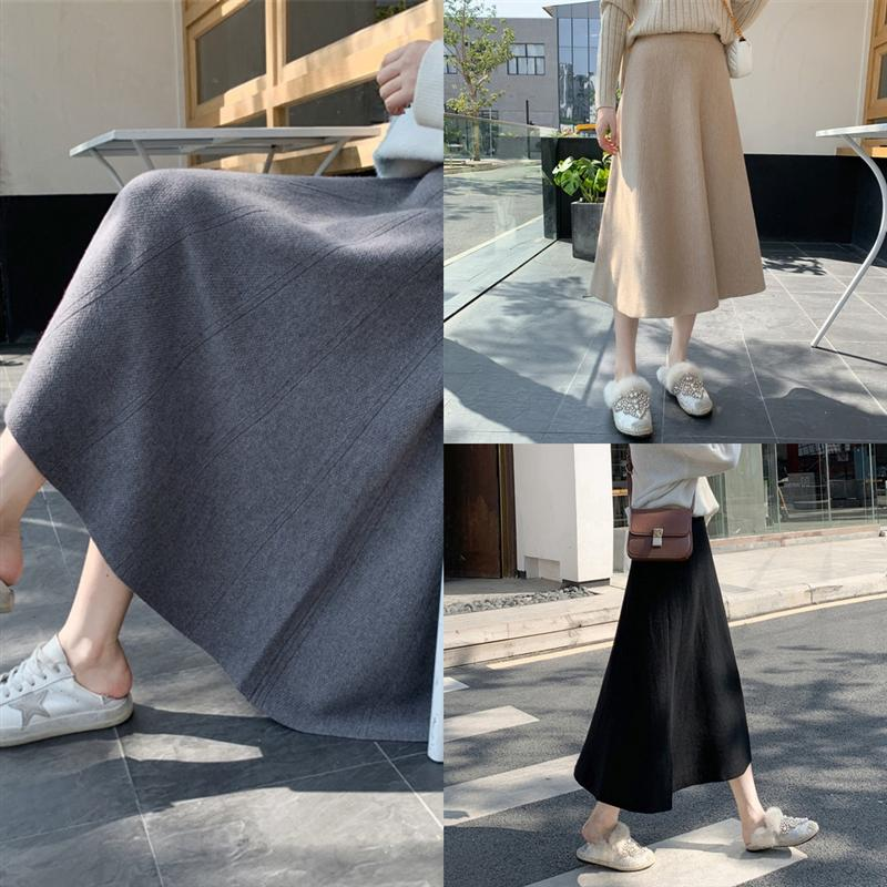 uIS30 Color Clothing Designer Length Slimming Skirts Fashion Crotch Cover Female PU Autumn Winter Womens Knitting tulle skirt Hip Knee