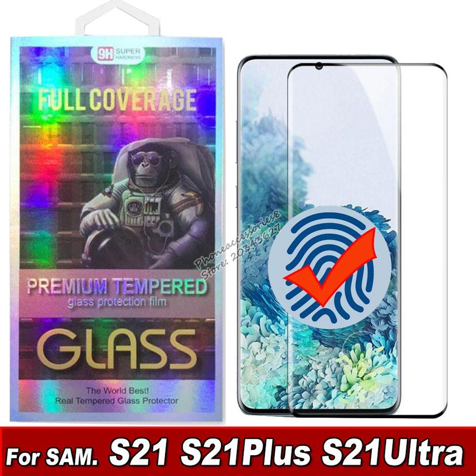 3D منحني الزجاج المقسى شاشة الهاتف حامي samsung غالاكسي S21 S20 S20 S20 Note20 بلس الترا S10 S8 S9 الزجاج في صندوق البيع بالتجزئة