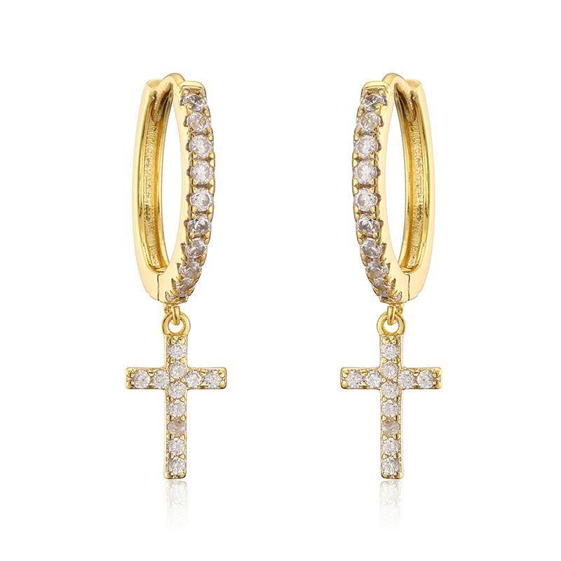 Hoop Huggie Fashion Cztop Quality cubic zirconia cristallo carino piccolo orecchini croce per le donne gioielli di moda di nozze coreano F3246W