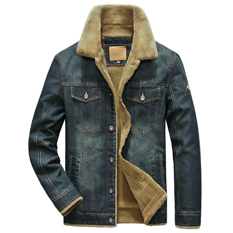 Jeans Tamaño Chaqueta Cowboy Multi-Pocket Windreveper Hombres Chaquetas Mánetas PLUS Outwear Abrigo Masculino Cálido Hombres Marca Ropa Denim M-6XL MRPCM