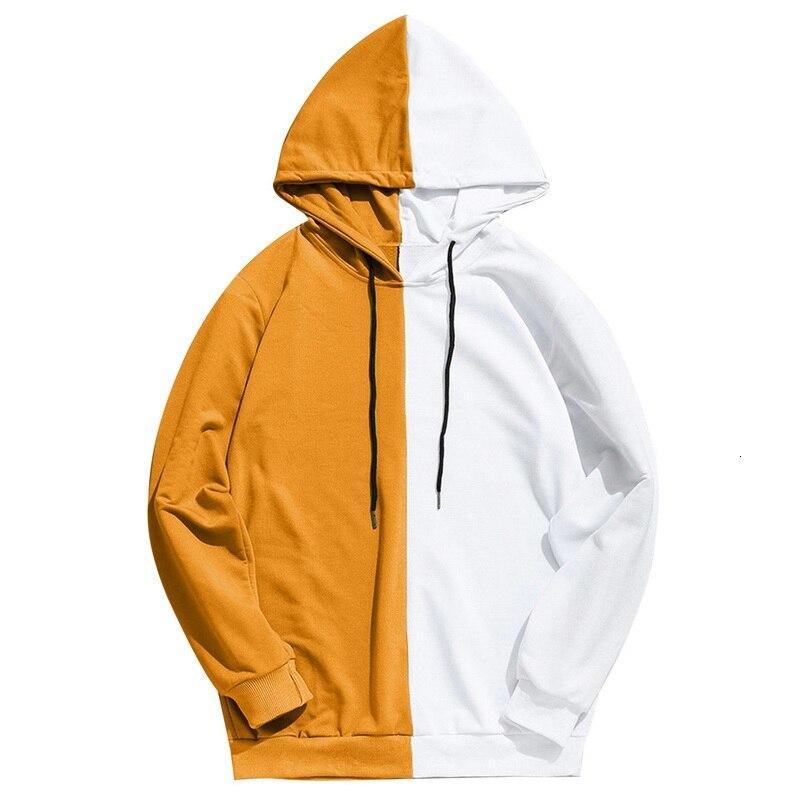 Uzun Kollu Erkek Kapüşonlular Hood Yarım Siyah Yarım Beyaz Düz Kapüşonlular Patchwork Pamuk Kazak Erkek Hoody Moda K17C Soğuk