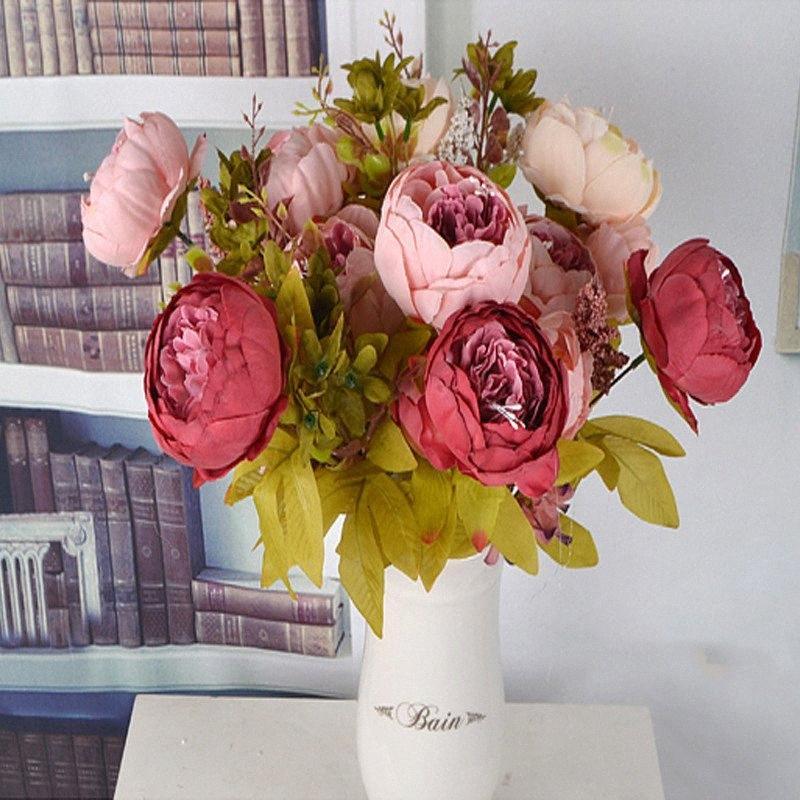 3 Bouquet 13 heads Artificial Peony Rose Flowers Camellia Silk Fake Flower flores for DIY Home Garden Wedding Decoration E9CD#