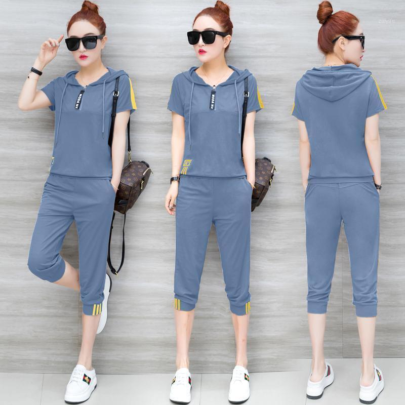 Два куска платье синие трексуиты для женщин нарядов 2 комплект спортивной одежды CO-ORD плюс размер XXXL твердые вершины и брюки костюмы 2021 летний