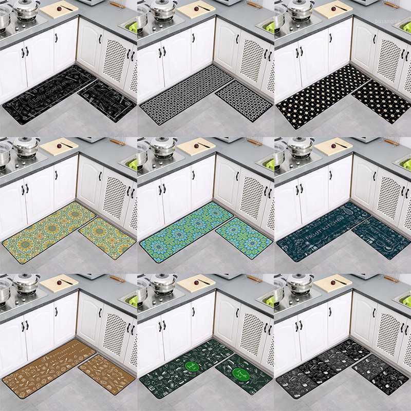 Tappetini da cucina impermeabili e a prova di olio antiscivolo tappeti da bagno e tappetini set motivo geometrico pavimento mat decorazioni per la casa DW2631
