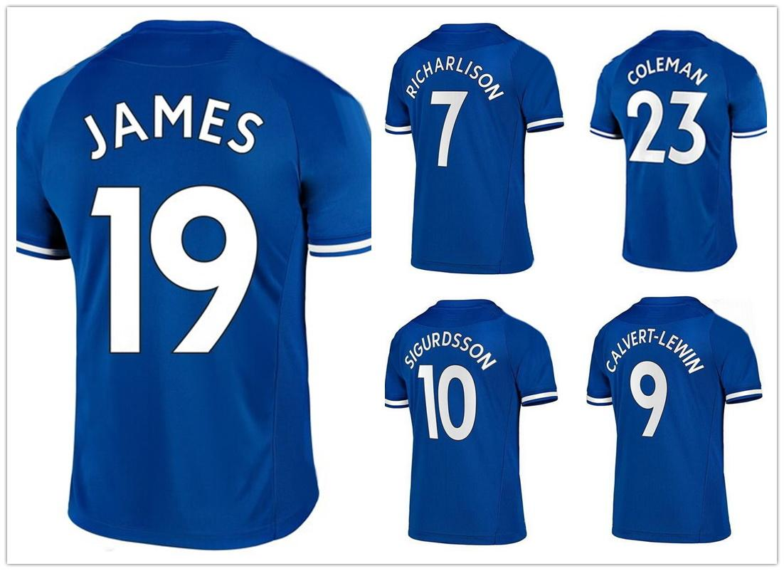 19 JAMES 10 SIGURDSSON 9 CALVERT-LEWIN 7 RICHARLISON 8 Delph 12 Digne Thai Quality Customized Soccer Jerseys Shirts Mix Order Accepted