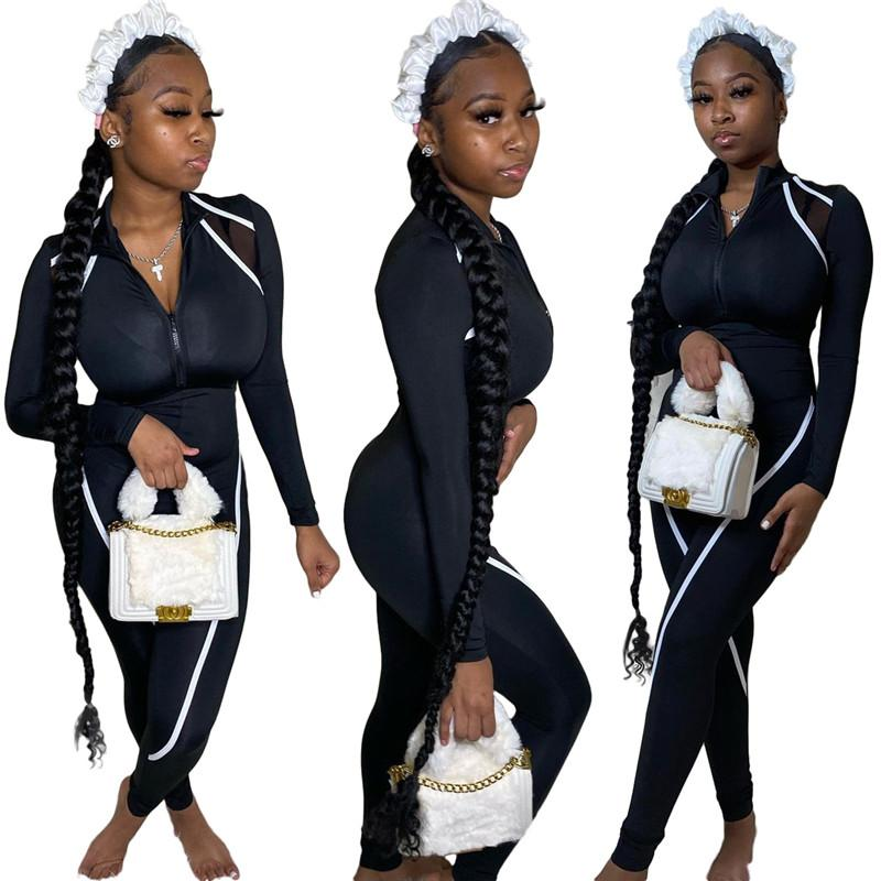 Yeni Panelli Bayan Skinny Tulumlar Lepal Boyun Fermuar Fly Rahat Seksi Romper 2021 Tasarımcı Bayan Giyim