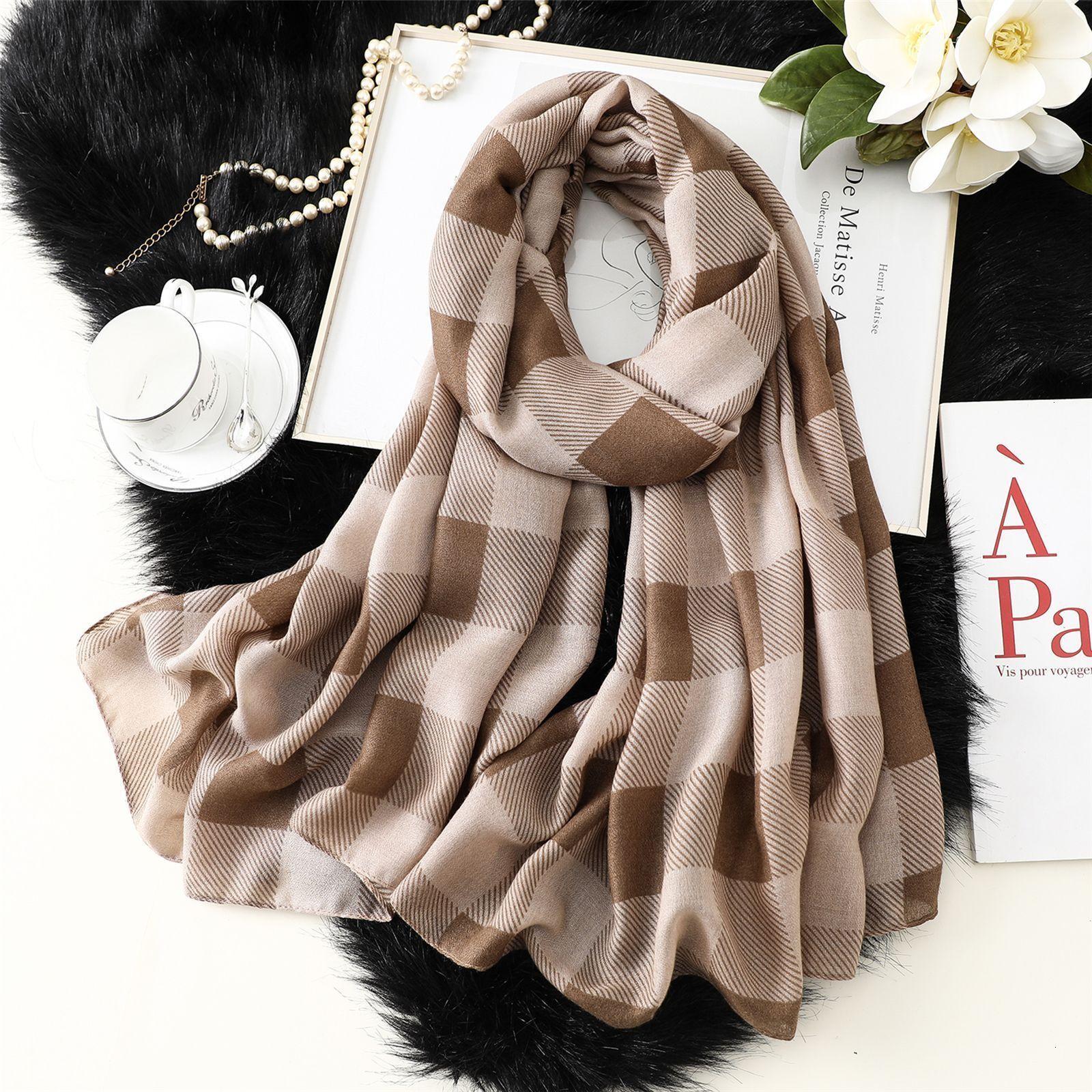 Nueva tela de lino de lino de algodón de seda de invierno Impresión a cuadros impresión extendida Sombrilla de mujer J0MW