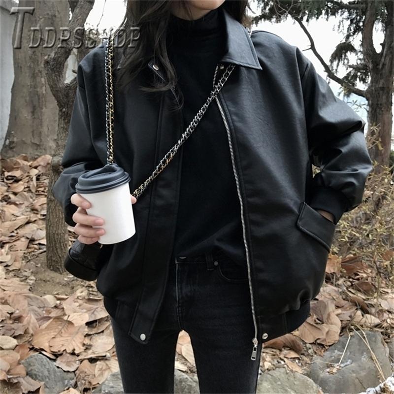 Pu Leather Women Korean Coat Thick Windproof Locomotive Style Plus Size Female Jacket LJ201012