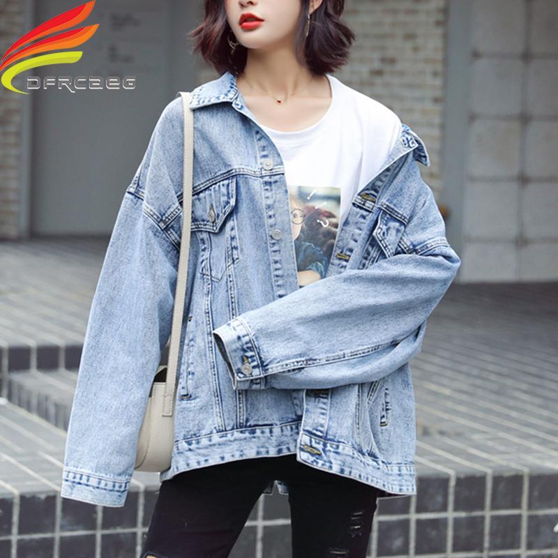 Осень зима джинсы куртка для женщин Свободных Свободных Голубых Женщин пальто Outwear кнопок Назад Вверх Streetwear Denim пальто Осени 200930