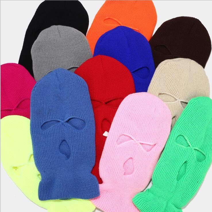 Máscara facial impermeável máscaras ao ar livre tático Headgear Headgear Respirável Balaclava Inverno Quente Esqui Chapéu Full Face Masks 3 Hole Headgear PPC4666