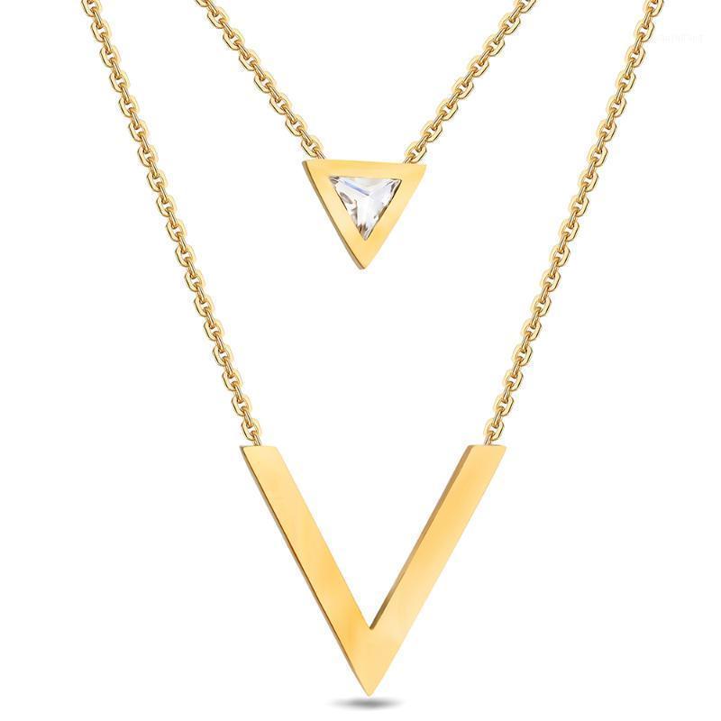 Ожерелья кулон Niba Gold-Color Double V-образное ожерелье для женщин Геометрические Трианге Кубический цирконий Модный Коллер1
