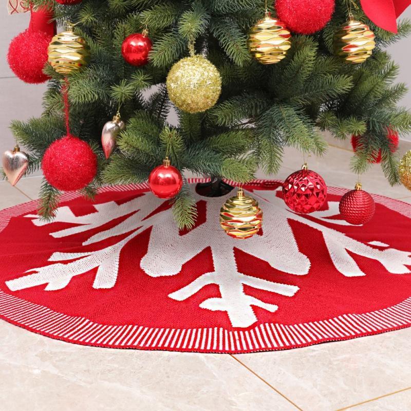 Party Decor Festival Base de malha da árvore de Natal do floco de neve Saias Tapete Xmas Tree Rodada avental Tapete decorativa