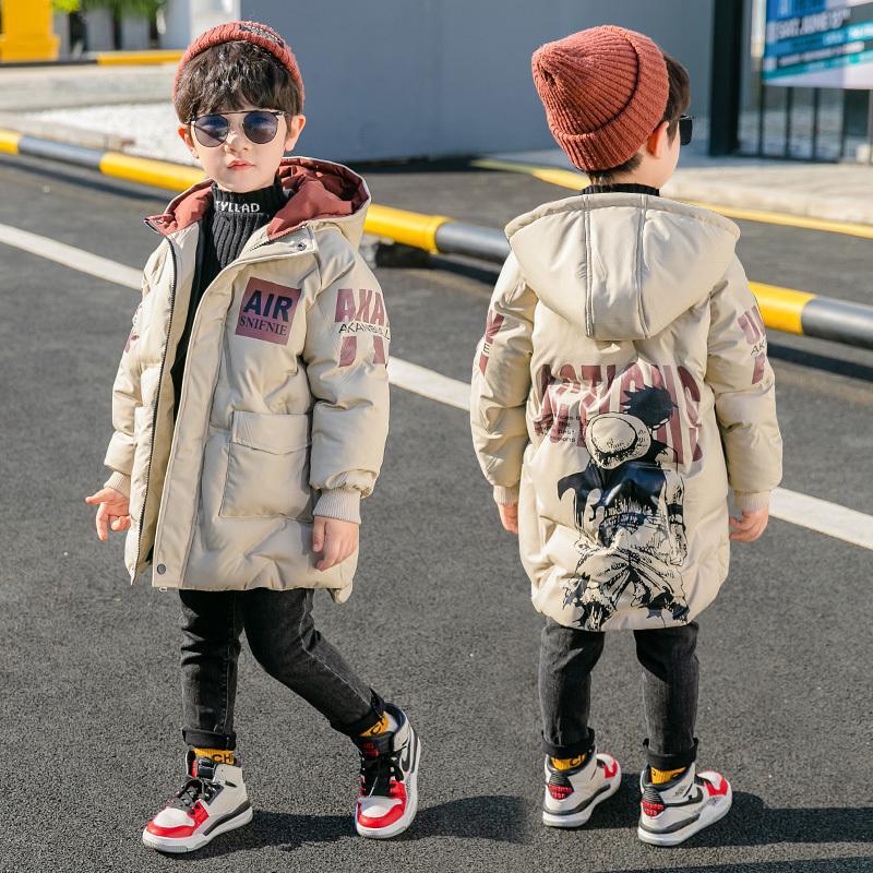 manteau d'hiver épaissie 2020 nouveaux garçons vers le bas à moyen et coton chaud style long de la mode veste matelassée