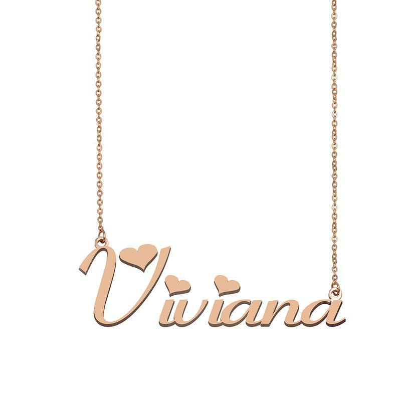 Viviana Namenskette benutzerdefiniertes Typenschild Anhänger für Frauen-Mädchen-Geburtstags-Geschenk für Kinder Beste-Freunde-Schmucksachen 18k Gold überzogener Edelstahl