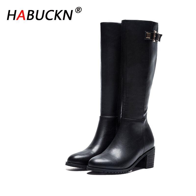 HABHUCKN Frauen Winterstiefel 2020 Lederstiefel mit hohen Absätzen Frauenplüschfutter warme Damen arbeiten Schuhe