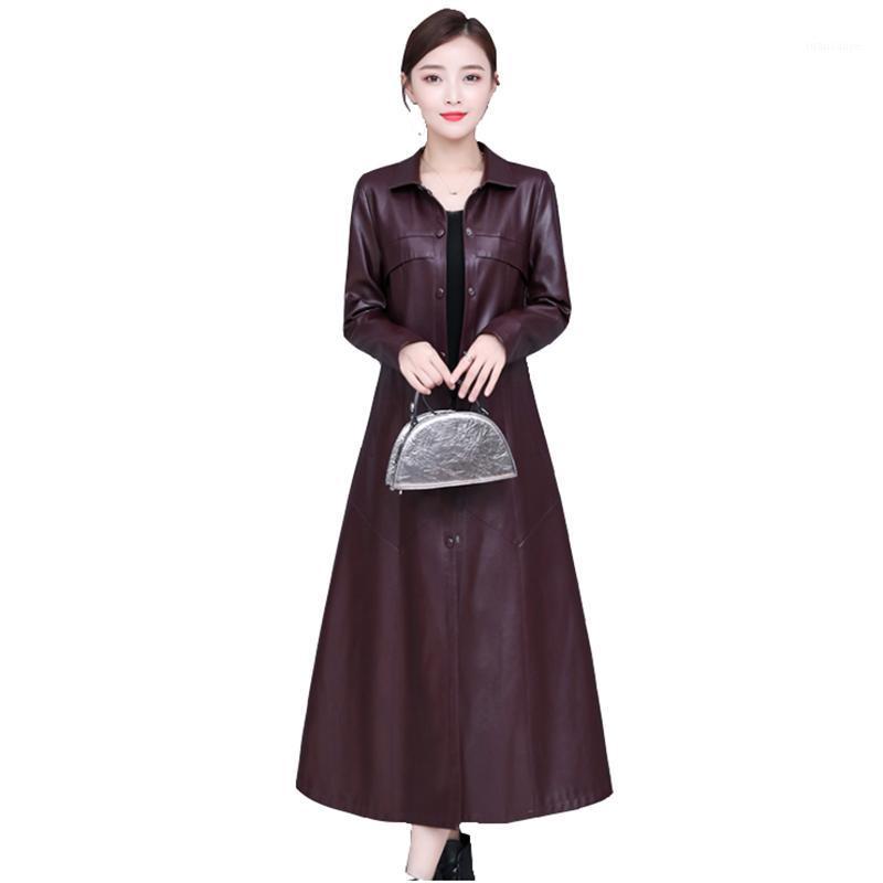 Neue Herbst Winter Lange Pu-Leder Windjacke Damen Mode Trend über dem Knie Leder Mantel Elegante Plus Size Damen Mantel1