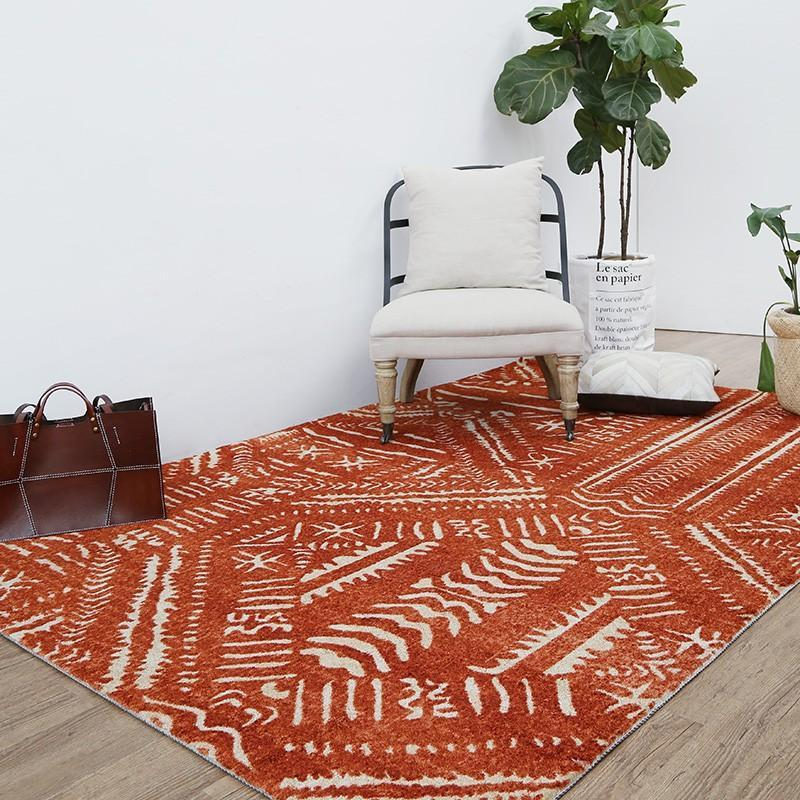 Bohemia style vintage red geometric bedside rug , big size post- modern decoration villa carpet, villa rug