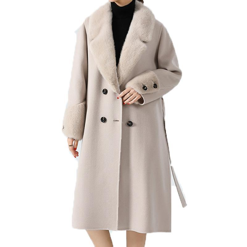 2020 New Female Jackets Sheep Wool Cashmere Coats Winter Clothes Woman Coats With Natural Collar Cloth Free Shipping
